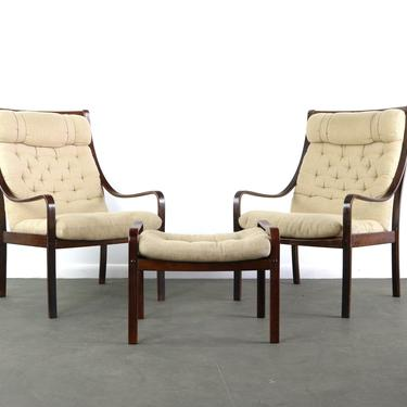 Set of Two (2) Bentwood Lounge Chairs w/ Ottoman by Fredrik Kayser for Vatne in Rosewood and Original Fabric made in Denmark by ABTModern