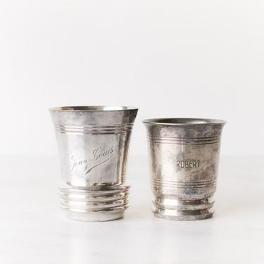 Pair of Vintage Silver Christening Cups