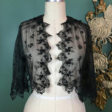 1930s lace top, black net blouse, vintage cropped jacket, size small, gothic blouse, net lace top, embroidered lace, flutter sleeve, 32 bust by BlackLabelVintageWA