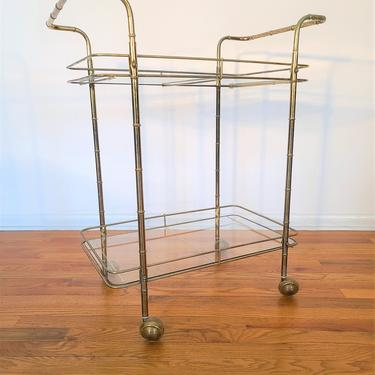 Mid Century Brass Faux Bamboo Rolling Bar Cart / Server by ProRefineFurnishings