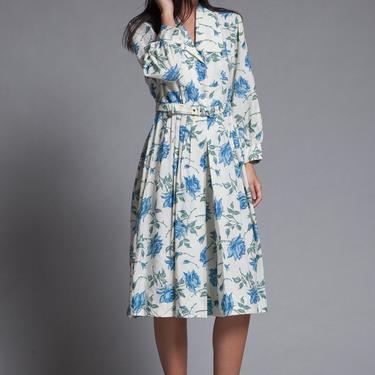 shirtwaist dress belted pleated blue rose floral print vintage 70s MEDIUM M by shoprabbithole