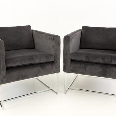 Milo Baughman Mid Century Modern Cube Lounge Chairs - Matching Pair - mcm by ModernHill