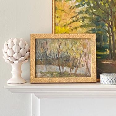 Vintage Impressionist Landscape Oil Painting Fall River Scene by ModRendition