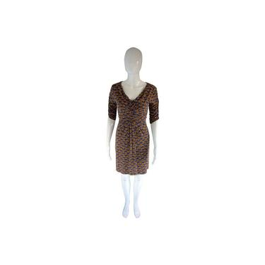 Boden Print Mustard Brown Jersey Ruched-front Short Casual Dress by MetronomeThreads