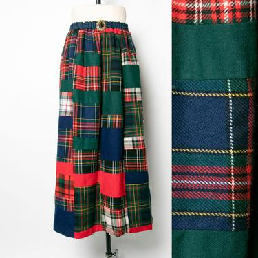 1970s Quilted Patchwork Wool Maxi Skirt S by dejavintageboutique