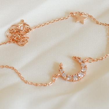 Melody rose gold Crescent moon bracelet, cz moon bracelet, rose Gold moon bracelet, cz star bracelet, cz celestial bracelet, dainty bracelet by melangeblancdesigns