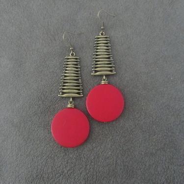 Large red earrings, Geometric earrings, African Afrocentric bronze earrings, big bold statement earrings chunky earrings, unique Art Deco by Afrocasian