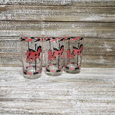 Vintage Horse Carousel Glasses, Carnival Circus Cocktail Glasses, Clear Carousel Tumblers, Merry Go Round Ice Tea Glass, Vintage Barware by AGoGoVintage