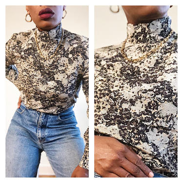 Vintage 1980s 1990s 90s Silk Animal Lace Print Blouse Neutral Black Tan Grey Long Sleeve Mock Neck Top Shirt Designer Ungaro Small by KeepersVintage