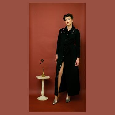vintage 1970s Leslie Fay rhinestone trim belted maxi dress by FlowerInTheMirror