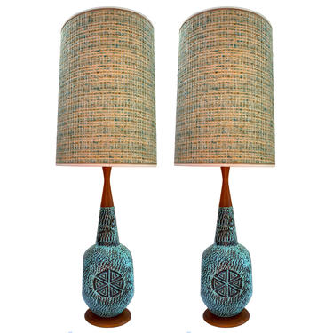 Mid Century Pottery Lamps with Original Lamp Shades by TheModernHistoric