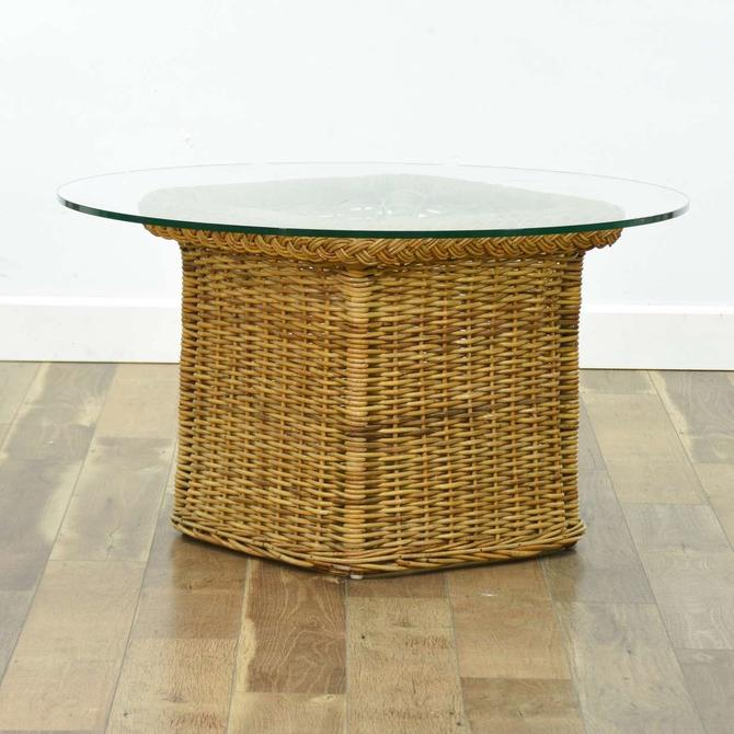 Vintage Rattan Willow Basket End Table W Heavy Glass