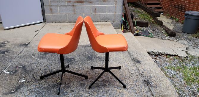Orange Atomic Style Mid-century Vinyl Stools