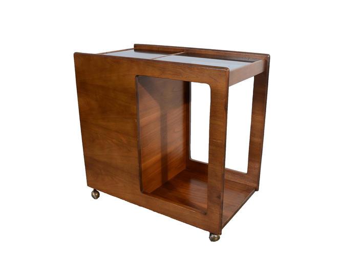Walnut Bar Cart Serving Cart Mid Century Modern by HearthsideHome