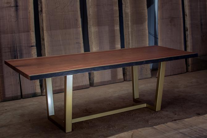 Bubinga Live Edge Table on Gold Legs by KirkpatrickDesigns