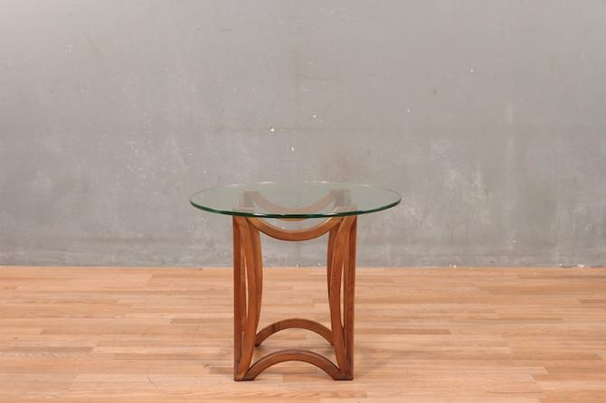 Mid Century Airy Walnut & Glass End Table