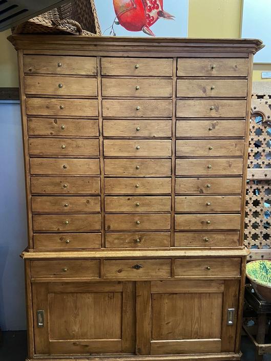 Antique English Mercantile/Haberdasher's Cabinet | 33 Drawers | Restaurant Décor