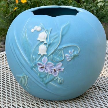 Vintage Weller Pottery Large Blue Pot Vase by Walkingtan