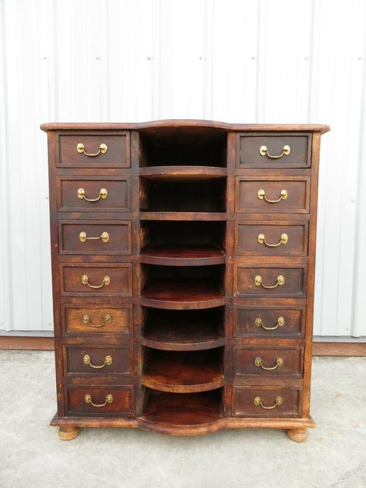 Antique 14 DRAWER WOOD CABINET & SLOTTED SHELVES Apothecary Card Catalog File