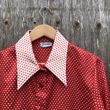 1970s Red Dottie Button Up by VeeVintageShop