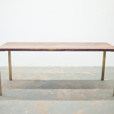 Modern Dining Table - Black Walnut with Brass Base - Seat 6 by OlivrStudio