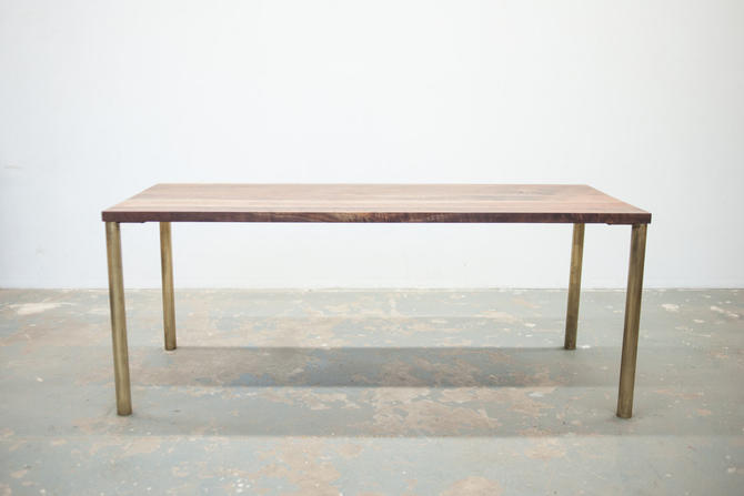 Modern Dining Table - Black Walnut with Brass Base - Seat 6 by dylangrey