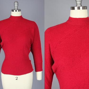 1940s Zig Zag Knit Sweater | Vintage 40s 50s Red Wool Pullover with High Collar | small / medium by RelicVintageSF