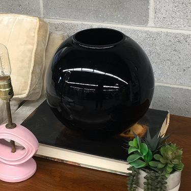 Vintage Vase Retro 1990s Contemporary + Large + Black + Ceramic + Sphere + Orb + Plant or Flower Display + Home and Table Decor by RetrospectVintage215