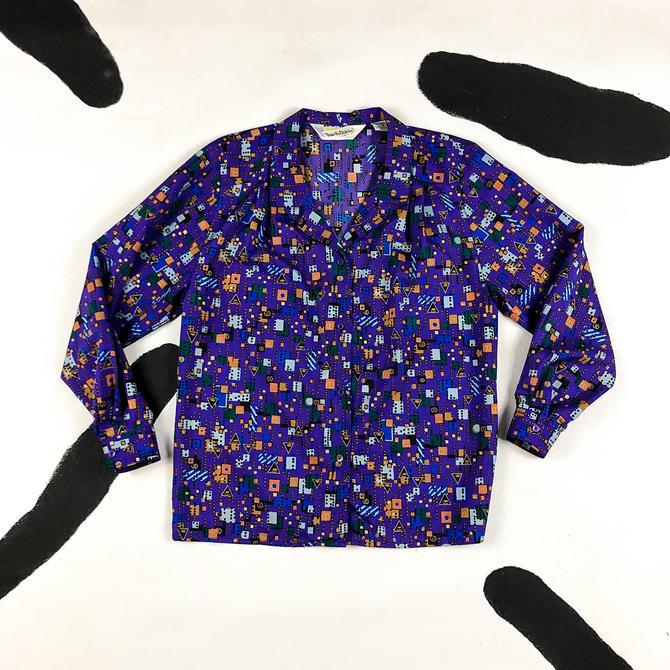 80s Diane Von Furstenburg Purple and Gold Allover Print Blouse / Medium / Geometric / Dots / 1980s / Purple and Gold / Novelty / Flashy / by shoptrashdotnet