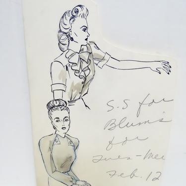 Antique 1940's Original Art, Sylvia Baird Vintage Fashion Advertisement Illustration Design Painting, Vintage Retro Women in Blouses by exploremag