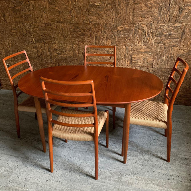 Danish Teak Table & Set of Four Niels Moller Chairs