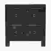 Oriental Distressed Black Golden Flower 4 Drawers End Table Nightstand cs5165S