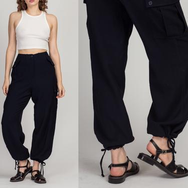 "90s Ralph Lauren High Waist Cargo Pants - Medium to Large, 30.5"" | Vintage Navy Blue Wool Minimalist Tapered Leg Trousers by FlyingAppleVintage"