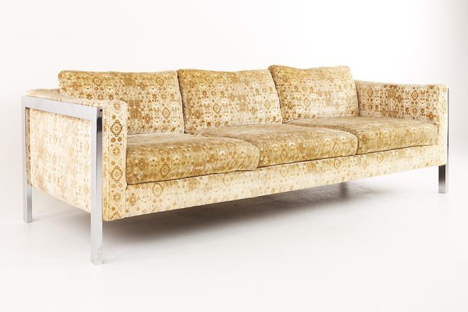 Milo Baughman Style Mid Century Chrome Sofa - mcm by ModernHill
