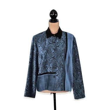 Blue Paisley Chenille Jacket Large, Short Coat Women, Hippie Boho Bohemian, Casual Clothes Vintage Clothing Coldwater Creek Size 14 Petite by MagpieandOtis