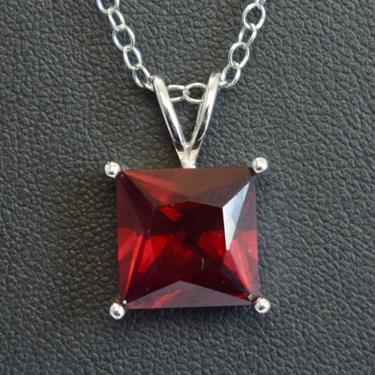 Vintage sterling 8.5 carat ruby elegant bling pendant, simple classic 925 silver lab made pricess cut red ruby FAS necklace by BetseysBeauties