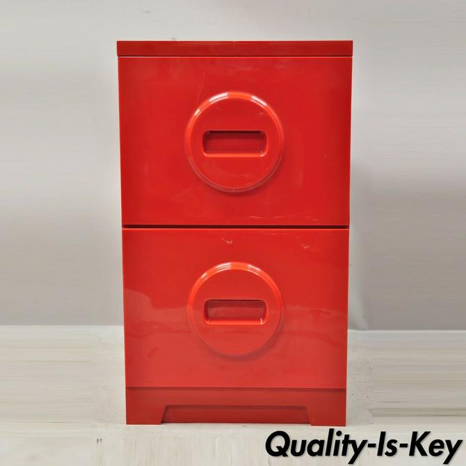 """Mid Century Modern Akro-Mils Red """"Lego"""" Molded Plastic Home Office File Cabinet"""