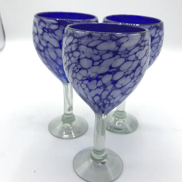 Set of 3 Handmade Blown Splatter or Spatter Glass  Wine Glasses  Cobalt Blue and White by JoAnntiques