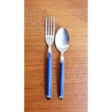 Vintage Mikasa Tempo - Cobalt - Dinner Fork and Teaspoon - Italy - LOVELY by TheFeatheredCurator