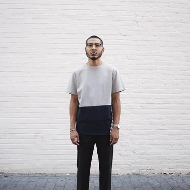 Stripe Contrast Half T-Shirt