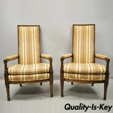 Hollywood Regency French High Back Upholstered Fireside Arm Chairs - a Pair