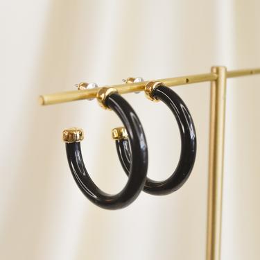 black open large hoop earring, black open hoops, black open hoop earrings, gift idea, round open hoop earring, hoop earring with gold by melangeblancdesigns