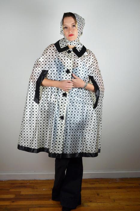 Vintage 60s Raincoat / Spades Polka Dot / Hat / Rain Coat Jacket Poncho Cape / Twiggy Mod Mad Men / 50s 1950s 1960s Swing Black White Medium by ErraticStaticVintage