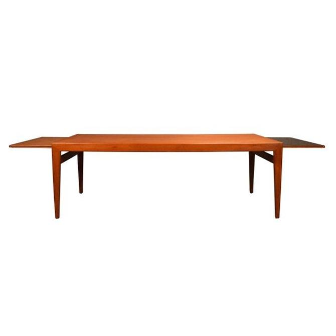 Vintage Mid Century Danish Modern Teak Coffee Table With Pull Out Trays. by AymerickModern