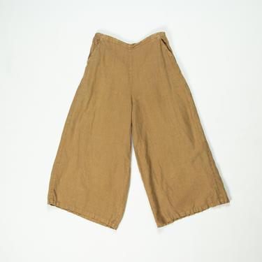 Salsola Pants — vintage linen culottes / small minimalist tan cropped wide-leg lounge pants / medium comfy elastic waist brown gaucho pants by fieldery