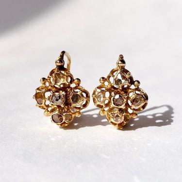 14K Gold Cruciform Rose Cut Diamond Earrings, Ottoman Turkish? Antique Vintage by templeofvintage