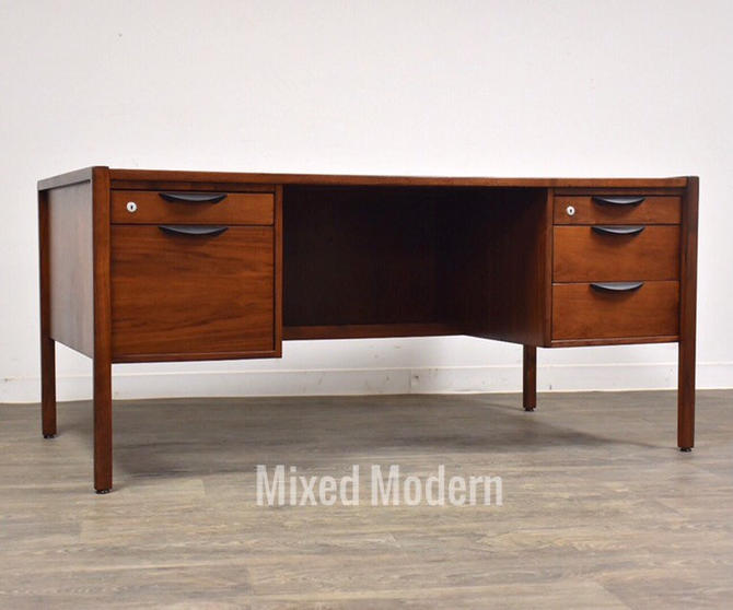 Jens Risom Walnut Mid Century Executive Desk by mixedmodern1