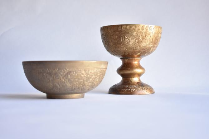 Set of 2 Engraved Brass Vessels | Chalice and Bowl Gift Set | Pair Vintage Brass Decor Objects | Key Bowl Change Dish Sponge Dish Candy Bowl by LostandFoundHandwrks