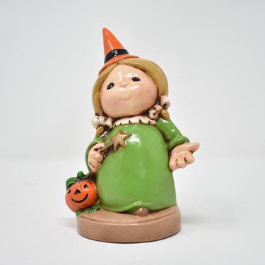 Sweet Halloween Kid Witch Figurine, 70s Kitsch Autumn Decor, Pumpkin Wand Pigtails Bows by LostandFoundHandwrks