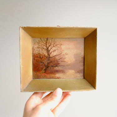 Vintage Small Landscape Painting of a Tree and River, Original Oil Landscape, Tiny Landscape Painting by LittleDogVintage